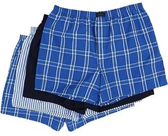 Jockey Active Blend Woven Boxer 4-Pack (Blue Plaid/Best Navy/Blue Stripe/Blue Plaid) Men's Underwear
