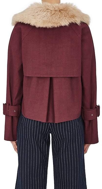 Sea Women's Covi Fur-Collar Crop Trench Coat