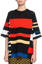 Proenza Schouler Variegated-Stripe Half-Sleeve Tunic, Multi