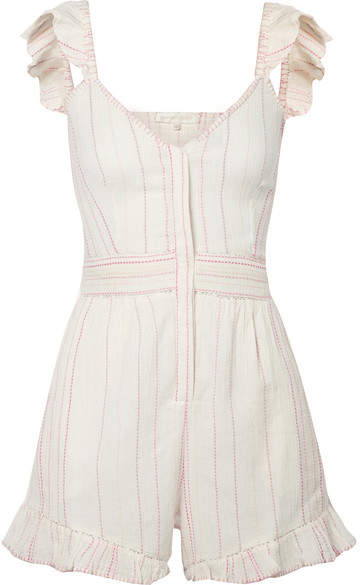 LoveShackFancy Lucy Embroidered Cotton-voile Playsuit - Ivory