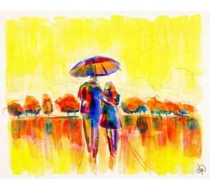 "Creative Gallery Golden Morning Walk with Umbrella Abstract 20"" x 16"" Canvas Wall Art Print"