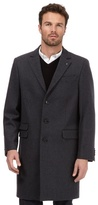 Jeff Banks Big And Tall Dark Grey Single Breasted Overcoat