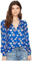 Lucky Brand Umi Floral Peasant Top Women's Long Sleeve Pullover