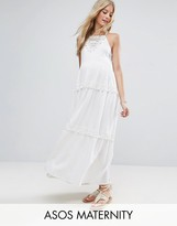 Asos Maxi Dress With Lace Inserts And Pom Poms