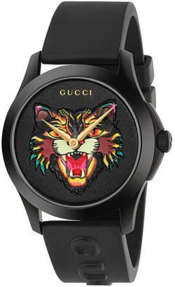 Gucci 38MM G-Timeless Feline Head Motif Watch in Black & Multicolor   FWRD