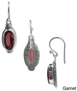 Sterling Arts Handmade Sterling Silver Bali Faceted Oval Gemstone Dangle Earrings