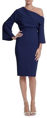 Badgley Mischka Off-Shoulder Bell-Sleeve Sheath Dress