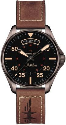 Hamilton Khaki Aviation Automatic Leather Strap Watch, 42mm