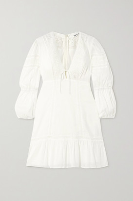 Reformation Cecille Broderie Anglaise-trimmed Organic Cotton-voile Mini Dress - Ivory
