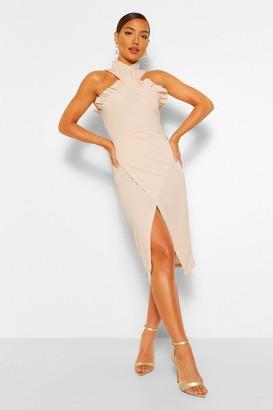 boohoo Frill Edge Wrap Over Midi Dress