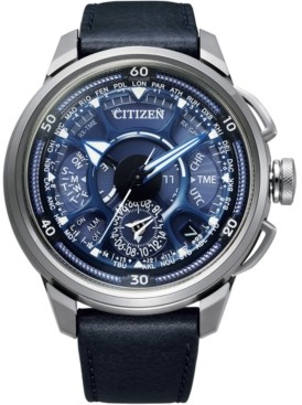 Citizen Eco-Drive Men's Chronograph Satellite Wave Gps F900 Blue Leather Strap Watch 49mm