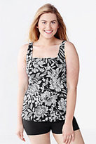 Classic Women's Plus Size Long Beach Living Square Neck Tankini Top-Cerise Pink Etched Paisley