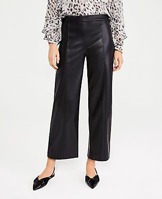 Ann Taylor The Faux Leather Wide Leg Crop Pant