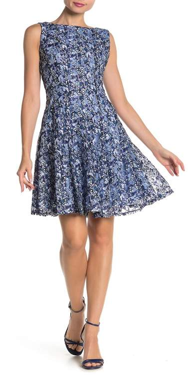 Gabby Skye Floral Print Lace Fit & Flare Dress
