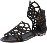 Brian Atwood Cutout-Suede Flat Sandal, Black