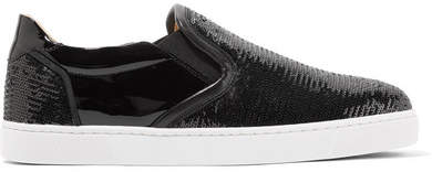 Christian Louboutin Masteral Sequined Patent-leather Slip-on Sneakers - Black