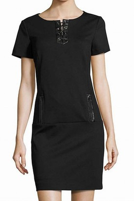 Tahari by Arthur S. Levine Women's Short Sleeve Lace Up Dress