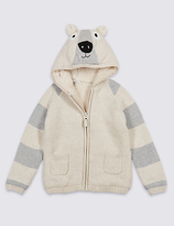 Marks and Spencer Cotton Rich Zip Through Hooded Top (3 Months - 5 Years)