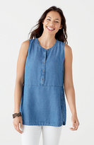 J. Jill Tencel®-Soft Indigo Sleeveless Shirt