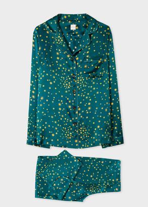 Paul Smith Women's Teal 'Stars' Print Silk Pyjama Set