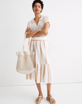 Madewell Ruffle-Hem Midi Skirt in Stripe