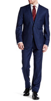 Zanetti Catania Blue Woven Two Button Notch Lapel Wool Trim Fit Suit