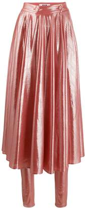 MSGM pleated shine-effect skirt