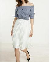 Express high waisted satin pleated midi skirt