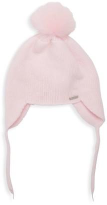 Bari Lynn Fox Fur Pom-Pom Hat
