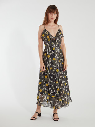 Joie Kenny Silk Blend Floral Metallic Wrap Dress