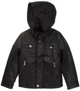 Urban Republic Buffalo Faux Leather Biker Jacket with Hood (Toddler & Little Boys)