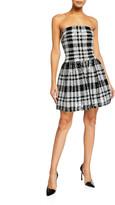 Sho Plaid Sequin Strapless Fit-&-Flare Dress