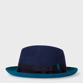 Paul Smith Men's Bi-Colour Navy And Petrol Wool Trilby Hat