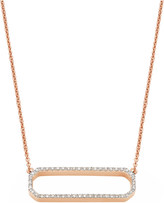 Monica Vinader Naida open rectangle rose gold-vermeil and diamond necklace