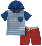 Kids Headquarters Blue & White Stripe Hooded Tee & Shorts - Infant
