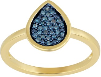 Jewelili Gold Plated Sterling Silver Diamond Ring