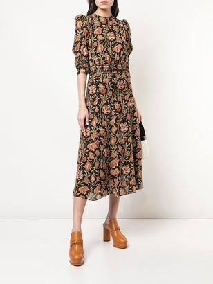 Floral Print Puff Sleeve Midi Dress