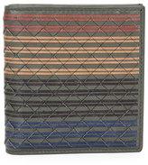 Bottega Veneta Men's Multi-Striped Woven Leather Fold-Over Card Case, Chocolate