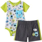 Disney Pixar Monsters Inc. Baby Boy Mike & Sully Print Bodysuit & Shorts Set