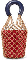 STAUD - Moreau Two-tone Macramé And Leather Bucket Bag - Red