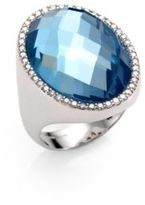 Roberto Coin Cocktail Blue Topaz, Diamond & 18K White Gold Ring