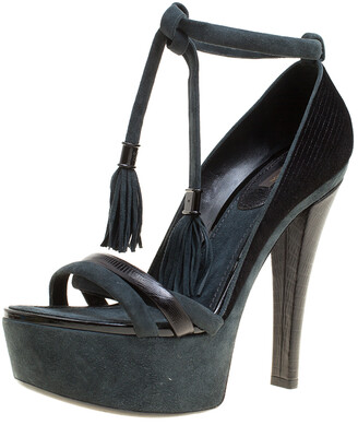 Louis Vuitton Black /Grey Fabric, Leather and Suede Platform Sandals Size 38.5