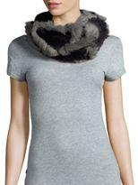 Jocelyn Rabbit Fur Two-Tone Infinity Scarf