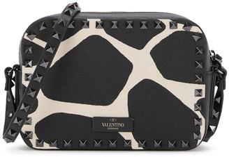 Valentino Rockstud giraffe-print leather cross-body bag