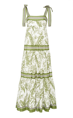 Zimmermann Empire Ribbon-Trimmed Printed Cotton Maxi Dress