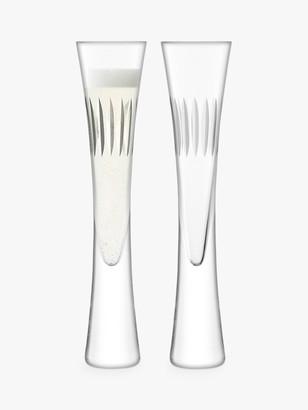 LSA International Moya Cut Glass Champagne Flutes, 170ml, Set of 2, Clear