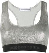 Paco Rabanne logo lined sports bra