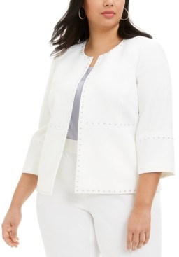 Kasper Plus Size Round-Neck Studded Jacket