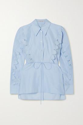 Stella McCartney + Net Sustain Tie-detailed Scalloped Organic Cotton And Silk-blend Poplin Shirt - Light blue