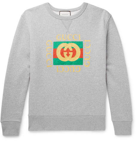 Gucci Oversized Printed Mélange Loopback Cotton-Jersey Sweatshirt